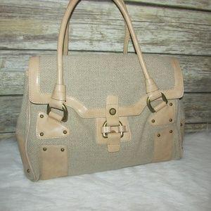 Nicoli Beige Woven Linen Italian Leather Bag
